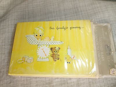 Vtg Hallmark Birth Announcements Second Baby Our Family's Growing 12 Cards Toys