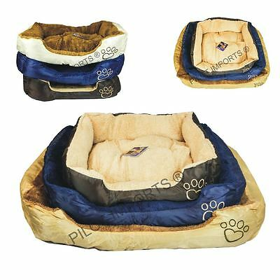 Pet Basket, Bed with Fleece Soft Comfy Fabric Washable Dog Cat Cosy Dogs Cats