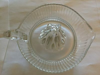 Older Clear Ribbed Glass Hand Juicer With Finger Handle And Spout