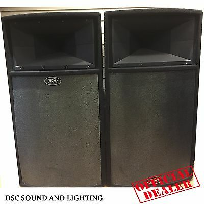 """A Pair Of Pre-Owned Peavey Ul215H 15"""" 2000W Program Speakers With Covers"""