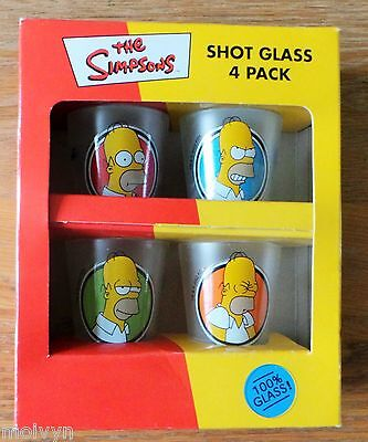 The Simpsons 4 Pack Shot Glasses by DP Ltd, New dated 2000
