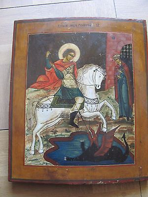 Antique Russian Icon St. George Slaying Dragon 19 Century