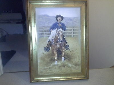 rodeo cowboy oil on canvas painting