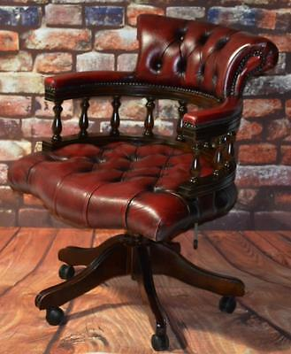 Vintage English Hand made Leather Captains Desk Chair - FREE Shipping [PL2738n]