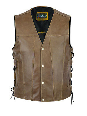 Men's Brown Single Back Panel Concealed Carry Motorcycle Vest Size up to 8XL