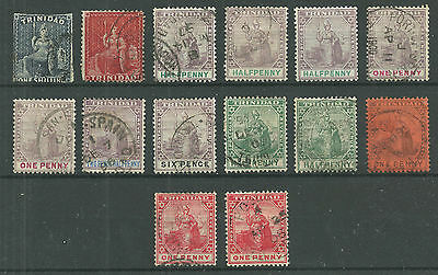 QV Trinidad Collection of 14 stamps - 1/2d to 1s - Used