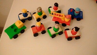 Bundle Vintage Fisher Price Figures And Vehicles, 18 Items.