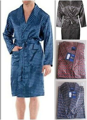 d6464191aaa 4 COLOURS MENS Harvey James Satin Dressing Gown robe Uk Sizes M-Xxl ...