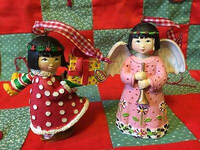 TWO Mary Engellbreit Christmas ornaments With Boxes EUC