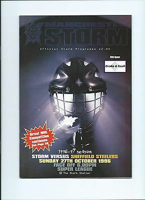 96/97 Manchester Storm v Sheffield Steelers Oct 27th   Mint