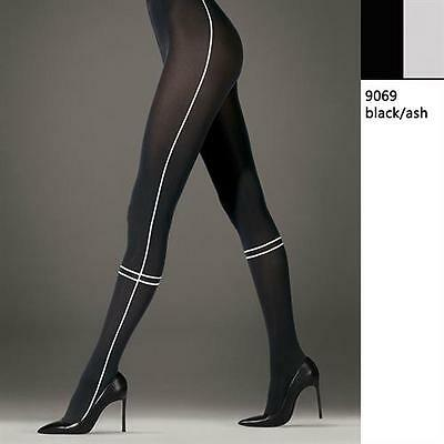 WOLFORD ANNI Tights Size M Style 14506 Black/ Ash 66 Den