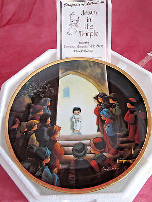 """NEW Precious Moments #2930x Bible Story Plate Jesus In The Temple w/cert auth 8"""""""