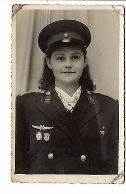 YOUNG BEAUTIFUL GIRL IN UNIFORM with DECORATION BADGE  RUSSIA RUSSIAN PETROGRAD