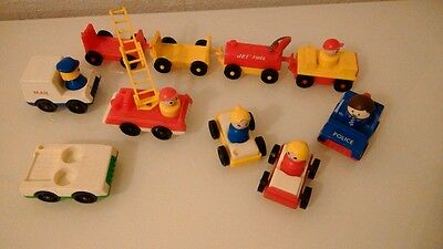 Bundle Vintage Fisher Price Figures And Vehicles, 16 Items.