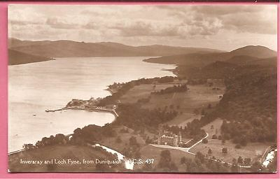 Inveraray and Loch Fyne, from Duniquaich, Argyllshire, Scotland postcard. RP.