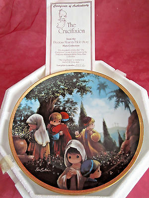 """NEW Precious Moments #1111c Bible Story Plate Crucifixion  w/cert of auth 8"""""""