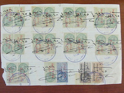 SYRIA SYRIE FRENCH Occ Alaouited Large Piece of Document W/ 22 Revenue Stamps