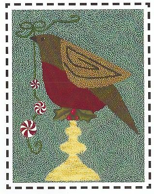 "Punchneedle Pattern by Artful Offerings ""Christmas Robin"""