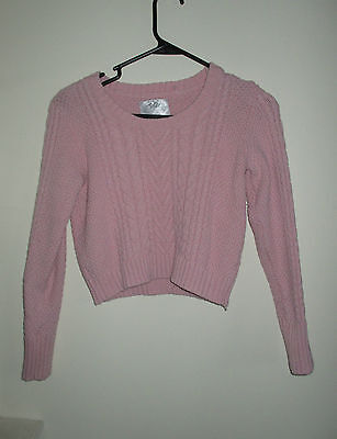 Justice Pink Crop Top Knit Sweater! Girls Size 16!