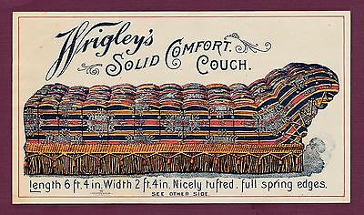 """Rare 1890's """"Wrigley's Cormfort Couch """" Chewing Gum Premium Offer"""