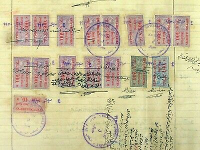 Syria Syrie Arab Gov 1919 Document W/ 1/2 Mill. British Revenue Stamps Ovpt Adpo