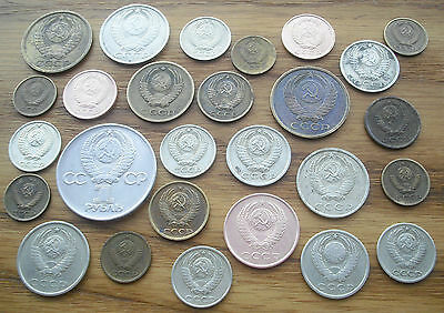 Lot of 27 USSR Coins mix 1961 - 90.