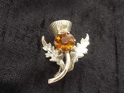 Sterling Silver Brooch with Orange stone by Ward Bros  Scottish Thistle Design