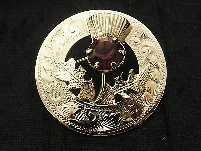 Sterling Silver Circular Brooch  purple stone by Ward Bros  Scottish Thistle