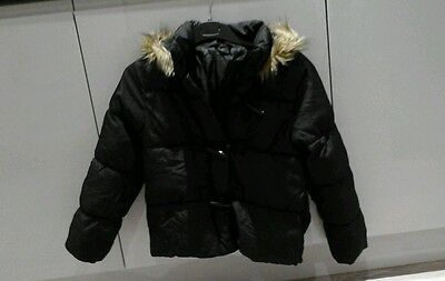 Girls Black Fixed Hood Faux Fur Trim Quilted Coat Age 9-10 Years Marks & Spencer