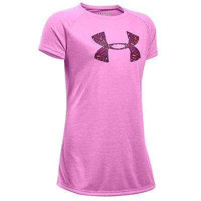 Under Armour Girls Solid Big Logo SS Tee - Verve Violet