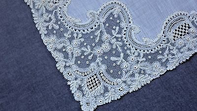 POINT D'ANGLETERRE Hand Made Lace Handkerchief, Excellent Cond, Belgium Tag