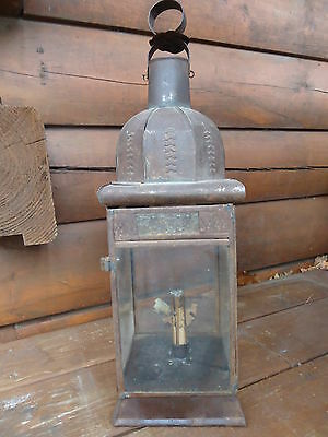 19th CENTURY ANTIQUE PRIMATIVE TIN MAINE FARMHOUSE CANDLE LANTERN, AWESOME!