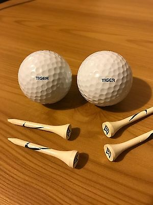 RARE TIGER WOODS Golf Balls x 2 Plus TW Tees PLAYER ISSUE Tour AFTAL UACC COA