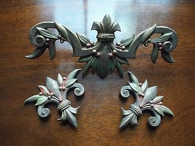 Victorian Art Deco Noveau Ci Ornate Drapery Medallion Finials; Original Paint...