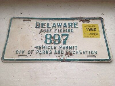 Delaware Surf Fishing  License Plate Vehicle Permit 1980 Division Of Parks And R
