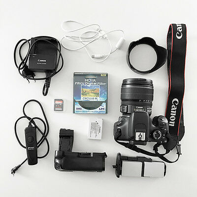 Canon EOS 550D with grip,15-85mm Lens, Hoya PRO1 Polarising filter & accessories