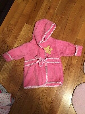 Cuddle Time Infant Girls Hooded Pink Star Bath Robe 0-9M
