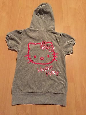 Girls Hello Kitty M&s Grey/pink Sequin Hoodie Hooded Short Sleeve Cardigan 11-12