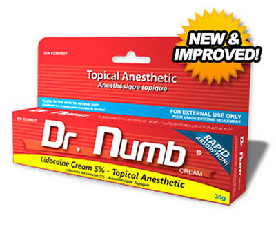Dr Numb 5% Lidocaine Cream 30 gr Skin Numbing Tattoo/Removal Waxing Piercing