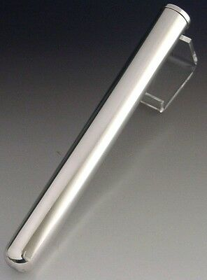 QUALITY HUGE STERLING SILVER CIGAR TUBE CASE 8 inch 1987 78g