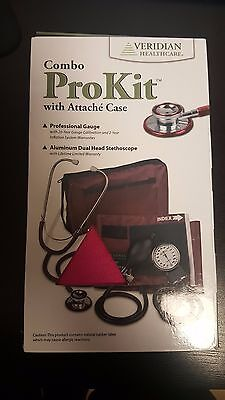 Veridian 02-12708 Aneroid Sphygmomanometer with Dual-head Stethoscope Kit, New