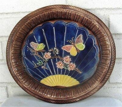#2 Antique Majolica Butterflies Tray or Platter Great Colors and Condition