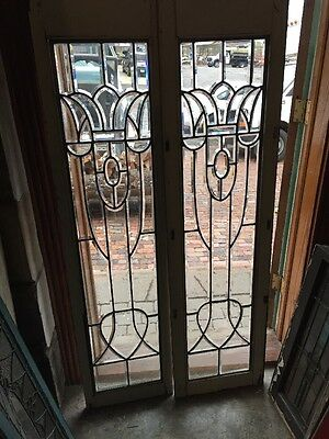 Sg 951 Amazing Pair Antique All Beveled Glass Sidelights