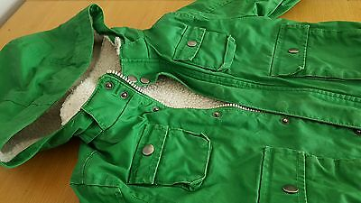 h&m boys winter jacket green size 2-4 years