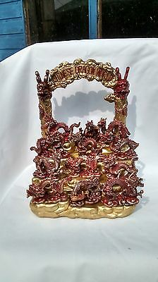 display stand with 12 chinese dragon figures