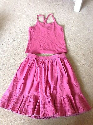 Girls Pink La Redoute Outfit Skirt and T Shirt Strappy Top Size 46 Age 6-7