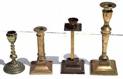 Antique/vintage Collection Of Brass Candlesticks Some Quality Four Total