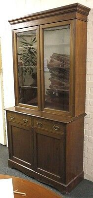 Victorian Mahogany Bookcase Display Section Cupboard+Drawer Twin Glazed Doors