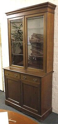 Victorian Mahogany Bookcase Display Section Cupboard Twin Glazed Doors REDUCED