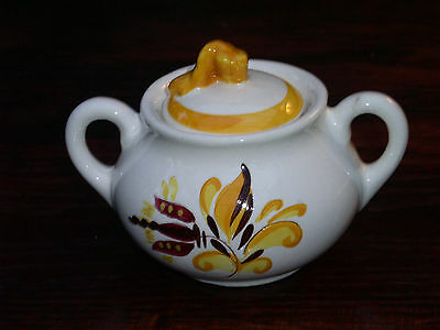 1 STANGL Provincial Sugar Bowl with Lid; Yellow Bands & Floral